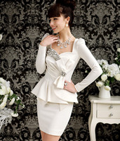 Wholesale High Quality White Black With Bowknot Rhinestone Tight Dress Party Dresses Mini Sexy Dress Hot Sale