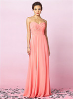 Wholesale 2013 New Hot Sale Sexy Sweetheart Coral C hiffon Pleated Floor Length Ruffles Bridesmaid Dresses