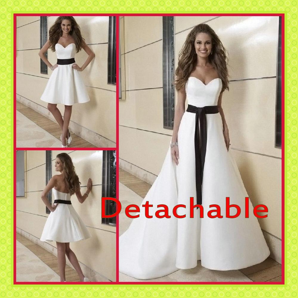 vente en gros 2015 blanc noir deux piece a line jupe d tachable noir et blanc satin automne. Black Bedroom Furniture Sets. Home Design Ideas