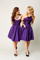 Wholesale 2014 New Hot Sale Cheap Sexy Sweetheart Purple Satin Pleated Knee Length Ruffles Bridesmaid Dresses
