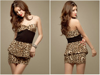 Wholesale 2013 Leopard strapless dress summer dress Slim sexy mini dress women dress club wear cheap dress NEW