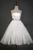 Wholesale Strapless Band On Back Embroidery White Short Wedding Dress img