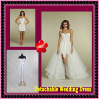 2013 Two Piece Detachable Skirt Sheer Sheath Lace Tulle Wedd...