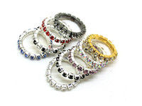 Wholesale 30PCS New Rhinestone Colorful Fashion Finger Rings Silver Crystal Toe Ring Elastic Body Jewellery