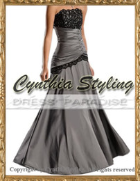 Wholesale Grey ruched beaded lace strapless prom dress evening gown in stock dress US14 H8022gy