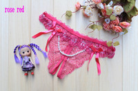 Women G-Strings & T-Back & Thongs Sexy 100pcs lots T56 Sexy panties Lace pearl open crotch sexy thong,Mix colors free shipping EMS