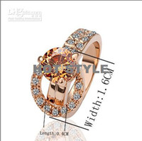 Wholesale Hot new K Rose Gold Diamond crystal ring Christmas gift jewelry free transport of piece