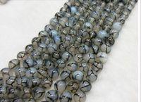 al por mayor ágata collar-6mm negro blanco dragón ágata piedra preciosa natural perlas sueltas DIY joyas collar pulsera