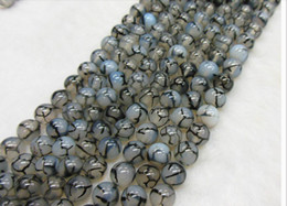 Wholesale 6mm black white dragon agate natural gemstone loose beads DIY jewelry necklace bracelet