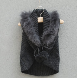 Wholesale girls kids spring autumn sweaters faux fur waistcoat vest cape