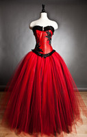 Wholesale 2014 New Arriva Red Strapless Tulle Black Embellishment Ball Gown Prom Dress With Petticoat