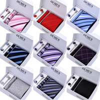 Wholesale handmade blue striped business tie set gift box packing tie bar included