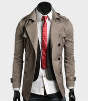 Bussiness / Work Casual Style khaki shorts - 2015 men s trench Coat big collar double breasted belt designer short black Khaki M XXL F02