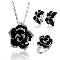 Wholesale 18K White Gold Plated Black Rose Crystal Necklaces Rings Earrings Wedding Fashion Jewelry Sets TZ057