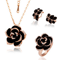 Wholesale 18K Rose Gold Plated Black Rose Crystal Necklaces Rings Earrings Wedding Fashion Jewelry Sets TZ058