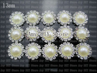 Wholesale 240pcs mm Mini Silver Plated Crystal Rhinestone Pearl Buttons Flatback Hair accessory GZ009
