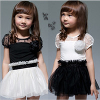 Wholesale New Kids Toddlers Girls White Black Flower Princess Tutu Mini Dress yrs