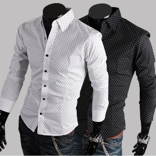 Classic Polka Dot Men's Casual Shirts Long Sleeve Slim Dress ...