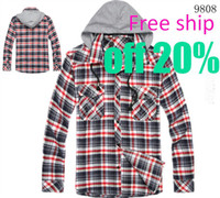 Wholesale French brand new Men s shirt checked Boys dress underwear cotton red blue Free ship AAA quality