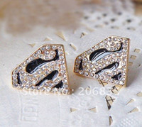 Wholesale Gold Plated Black Glazed triangle earrings Rhinestone S Letter Symbol Superman Stud Earrings Mini O