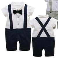 Wholesale Baby romper Gentleman outfits Short sleeve Suspenders trousers One Piece Rompers baby onesies