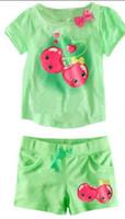 Girl 2-7years   L-126 Hot New Summer Baby Suit Short Sleeve T-shirts+Shorts 2 Pcs Set Pajamas Kid Outfits 6set lot
