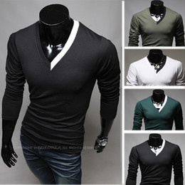 Wholesale New Men s T shirt male long sleeve T shirt V neck slim elastic men s clothing basic s