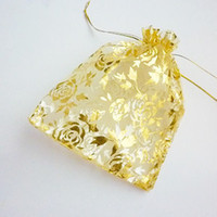 Wholesale 20 x Gold Blocking Organza Wedding Gift Bag x12cm