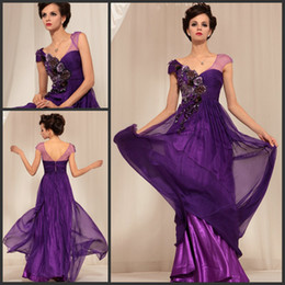 Wholesale New trend new arrival V neck cap sleeves embroidery purple evening dress chiffon long prom gown