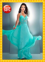 Reference Images Halter Chiffon 2013 Fashion Aqua halter Chiffon Beading Modern Long Empire Prom Dress Evening Formal Dresses Gown