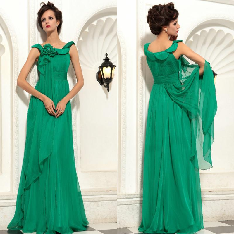 Green Cap Sleeves Hand Made Flower Chiffon Lime Green Prom Dresses ...