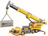 Wholesale Building blocks set educational plastic toy building crane with assembles particles puzzle game
