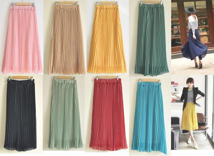 Women's Bohemian Pleated Wave Chiffon Maxi Long Skirt Beach Dress ...