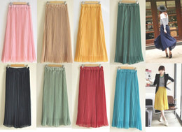 Wholesale 11 colors Women s Bohemian Pleated Wave Chiffon Maxi Long Skirt Beach Dress