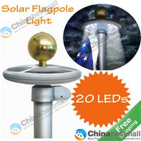 Wholesale 20 LED Solar Powered Garden Decor Light Top Flag Pole Flagpoles Landscape Lights Lamps Chinabestmall