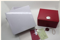 Wholesale Luxury new square red box for omega watches booklet card tags and papers in english