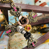 Wholesale Cross Pendant Necklaces Retro Skull Cross Rose Flower Necklaces For Women