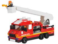 Vehicle   Building blocks set fire ladder truck educational plastic toy with fancy assembles particles
