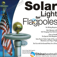 Wholesale LED Solar Powered Garden Decor Light Top Flag Pole Flagpoles Landscape Lights Lamps
