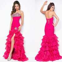 Wholesale New arrival sweetheart ruffle beads ruffle tiered mermaid bridal dress prom dresses evening dress