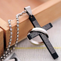 Wholesale Cross Pendant Necklaces Titanium steel Men Cross Necklaces Bible Cross Jewelry