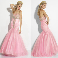 Model Pictures Sweetheart Tulle 2014 Sexy Slimy Sweetheart Light Pink Prom Dresses Peacock Feather Shape Beading Mermaid Gown Gowns