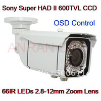 "Outdoor CCD  High Resolution 2.8-12mm Lens Waterproof 66 IR 600TVL 1 3"" SONY CCD CCTV Security Camera"