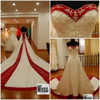 Satin red and white strapless wedding dresses - Top selling Cheap Strapless Cathedral train Tail Red And white Bridal gown Embroidery wedding dress