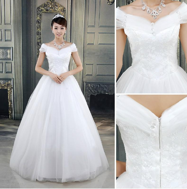Cheap Off Shoulder Beaded Lace Tulle A Line Wedding Dresses ...