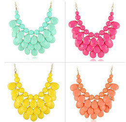 Wholesale New Resin Layers Faceted Tear Drop Bib Necklaces Statement Necklaces Candy Color Party Dress Neckl