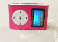 Wholesale Metal Clip Mini Mp3 Player with screen amp FM radio amp tf Card slot Earphone USB cable Crystal box