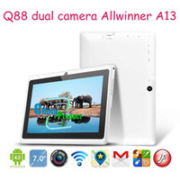 Wholesale Cheap inch A13 tablet pc Q88 Capacitive Multi TouchScreen Dual Camera M GB Colorful Fast shipping