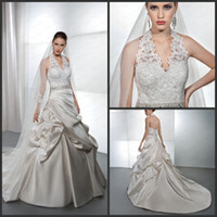 Reference Images Halter Satin Elegant A Line Wedding Gowns Satin Halter Lace Bodice Beaded Belt Ruffle Bridal Dress Demetrios 4312