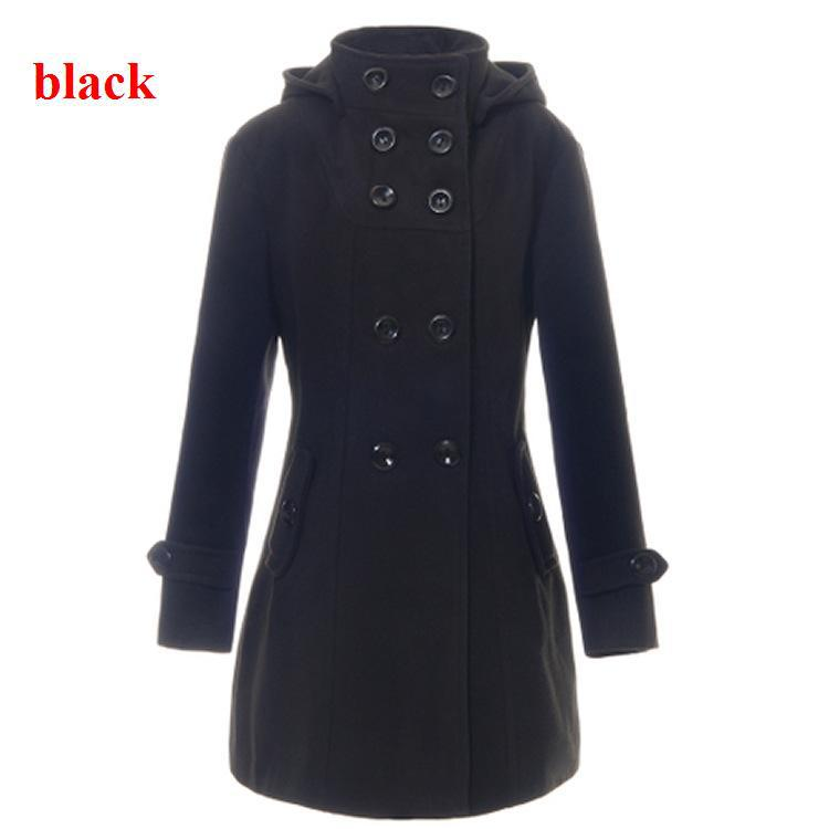 Woman Wool Black Coats Womens Double Breasted Lady Slim Blend ...